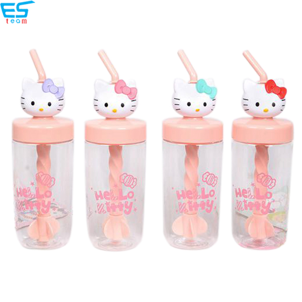 creative hello kitty manually straw stirring cup