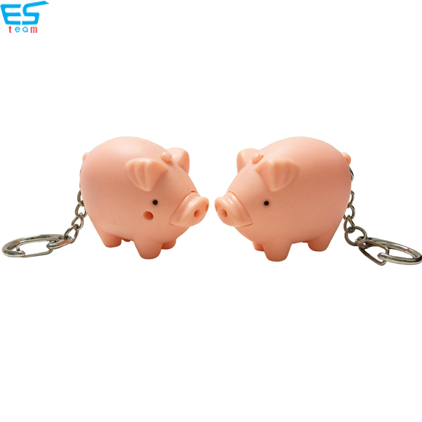 Fat pig LED keychain with sound