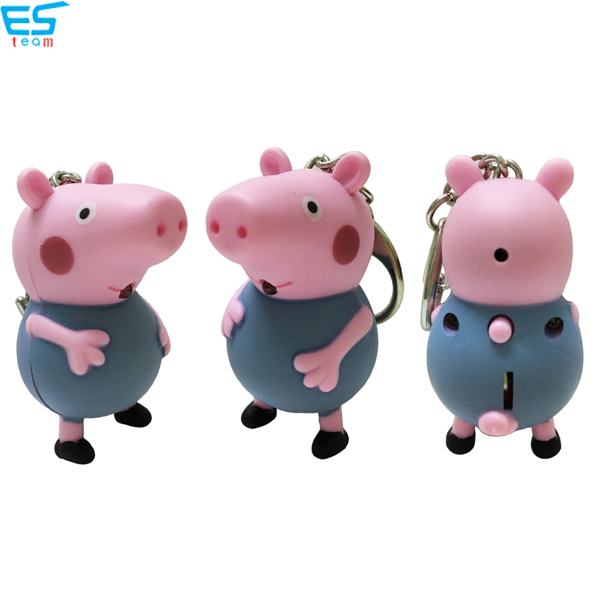Peppa pig LED keychain with sound