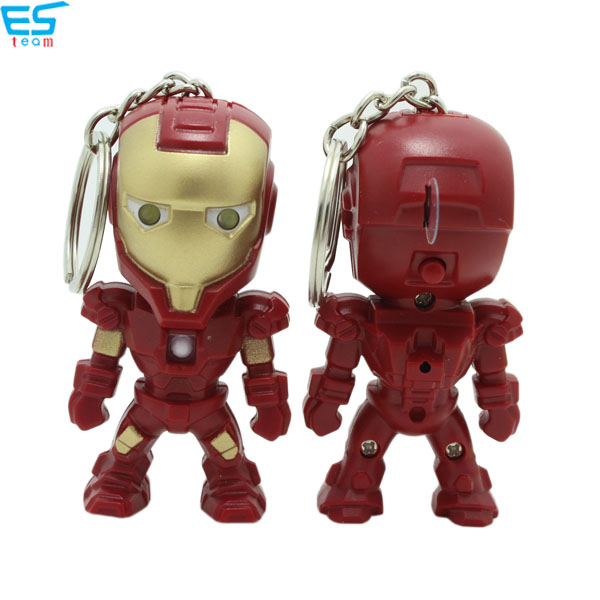 Iron man LED keychain with sound